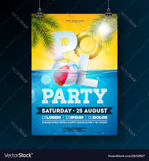 Poster Design Party Summer Pool Party Poster Design Template With Palm