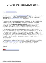 notice of violation template free violation of non disclosure agreement nda notice cease and