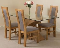 valencia oak 160cm wood and glass dining table with 4 stanford solid oak dining chairs light oak and brown leather