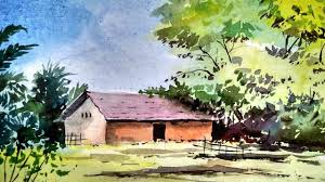 beginners watercolor how to draw a house landscape paint with david