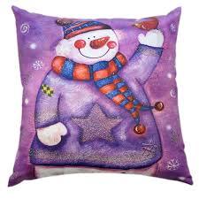 <b>Подушка декоративная</b>, <b>40x40см</b>, наволочка на молнии. Снеговик