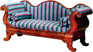 furniture clipart. sofa in wood and fabric furniture clipart