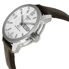 tissot prc 200 automatic white dial brown leather mens watch tissot