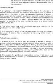 Power Of Attorney For Child Care Power Of Attorney Form Authorized By Sections To Of The