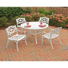 home styles biscayne 48 in white 5 piece round patio dining set