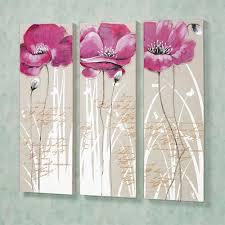 poppy blossoms canvas wall art set pink set of three on canvas wall art pink flowers with poppy blossoms floral canvas wall art set