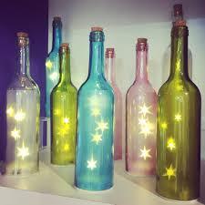 Lights For Wine Bottles Coloured Glass Bottle With Star Fairy Lights Inside Homedecor