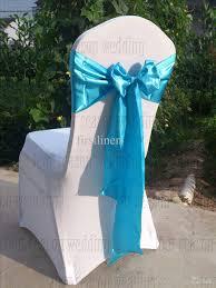 sky blue satin chair sash bow ribbon wedding party banquet decoration