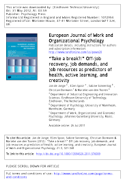 """take a break"""" offjob recovery job demands and job resources"""