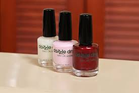 dazzle dry nail polish featured from left to right artic sunset strawberry macaron