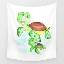 turtle baby and mom nautical wall decor ocean themed nursery sea turtle sea animals watercolor wall tapestry