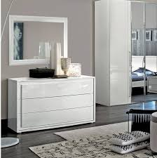 ESF Dama Bianca Glossy White Leather King Bedroom Set 5 Modern Made In Italy