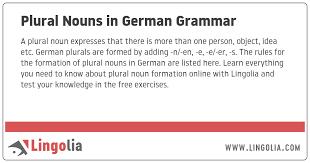Plural Nouns In German Grammar