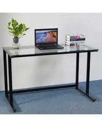 Deals on Ktaxon Portable Transparent Glass Computer Desk Home Office