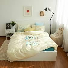 amazing 100 cotton art letter bedding set bed sheet light green duvet cover 100 cotton bedding sets queen decor