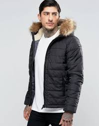 schott quilted padded hooded jacket detachable faux fur trim black men schott leather jackets los