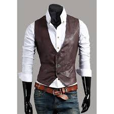 zogaa men s leather vest fashion joker blazer plus size suits casual vests single ted slim fit leather waistcoat mens tops