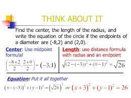 think about it find the center the length of the radius and write the