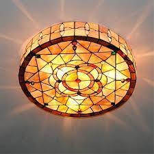 tiffany flush ceiling lights uk. 18 inch retro tiffany ceiling lamp shell shade flush mount living room dining light fixture lights uk l