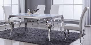 Barock Esstisch Edelstahl Chrom Silber Mit Glasplatte Moebella24