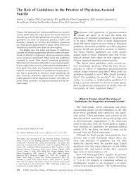 the role of guidelines in the practice of physician assisted the role of guidelines in the practice of physician assisted suicide of internal medicine american college of physicians