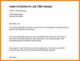 Acceptance Letter For Job Beauteous Decline Job Offer Email Bino48terrainsco