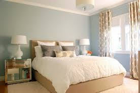 Soft Blue Wall Theme Decoration And Brown Beds Furniture Sets In