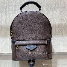 high quality original design genuine leather fashion women bag lady backpack famous las springs palm printing leather 41561 drawstring backpack black
