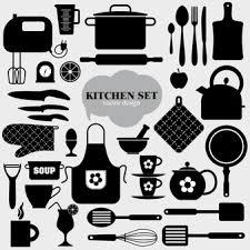 kitchen utensils vector. Black Kitchen Elements Utensils Vector O