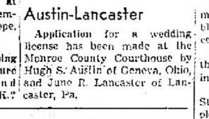 Hugh Austin - June (Griffith) Lancaster wedding application notice -  Newspapers.com
