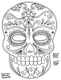 Sugar Skull Coloring Pages To Print Sugar Skulls Coloring