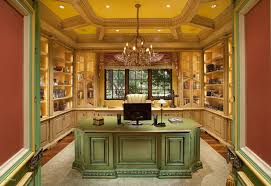 luxurious home office. Elegant Home Office With Custom Green Wood Desk And Built In Storage. | Listed By: The Joffe Group Source: Zillow Digs Luxurious