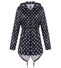Womens Waterproof Raincoat Outdoor Hooded Rain Jacket Windbreaker Black And White Polka Dot C2128ofl4tp Size Small