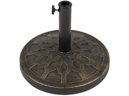 best choice s 18in round steel heavy duty patio umbrella base stand w rust resistant finish bronze