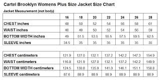Plus Size Size Chart Cartel Brooklyn Womens Plus Size Ski Jacket Stretch Black Sizes 16 28