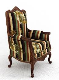 Quality Living Room Furniture Dolls House Victorian Armchair Miniature Walnut Quality Living