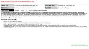 Import Export Coordinator Cv Letters Resumes Templates
