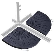 patio outdoor 2 piece cantilever offset umbrella base stand fan shape heavy duty