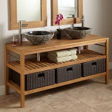 Teak Vanity Bathroom 60 Jolon Teak Vanity Console With Teak Top For Vessel Sinks