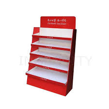 Portable T Shirt Display Stand Tiered cardboard nail polish display floor stand supermarket 32