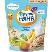 <b>Каша ФрутоНяня молочная овсяная</b> с бананом и яблоком 200 г ...