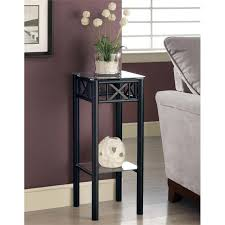 square glass top metal plant stand in black