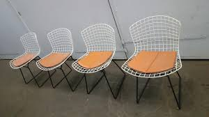 White \u0026 Black Wire Chairs by Harry Bertoia for Knoll, Set of 4 for ...