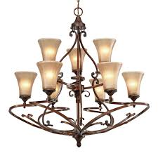 loretto 2 tier 9 light chandelier in russet bronze with riffled tannin glass