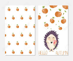 Apples To Apples Card Template Hello Autumn Stylish Inspiration Card In Cute Style With Cartoon