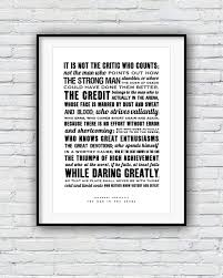 The Man In The Arena Speech Poster Daily Motivational Quotes