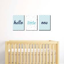 Etsy prints, poster hanger, oeuf nyc crib, pottery barn kids light fixture (prism flush mount). Hello Little One Blue And Silver Baby Boy Nursery Wall Art And Kids Room Decor 7 5 X 10 Inches Set Of 3 Prints Bigdotofhappiness Com