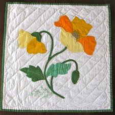 Vintage Quilt Block Applique Poppy Finished Yellow Orange ... & Free Applique Quilt Block Patterns | Vintage Quilt Block Applique Poppy  Finished Yellow by KerryCan Adamdwight.com
