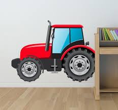 kids red tractor wall sticker