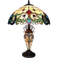 Chloe Lighting Tiffany Dulce Tiffany Style 3 Light Victorian Double Lit Table Lamp By Chloe Lighting